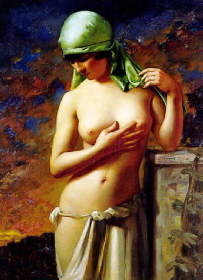 Young Woman with Green Scarf
