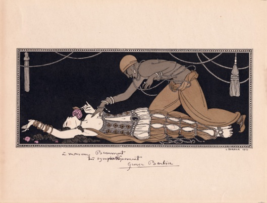 Ida Rubinstein as Zobeide and Vaslav Nijinsky as the Golden Slave in Schéhérazade published by Georges Barbier, 1913, dedicated to the bookseller and balletomane Cyril Beaumon